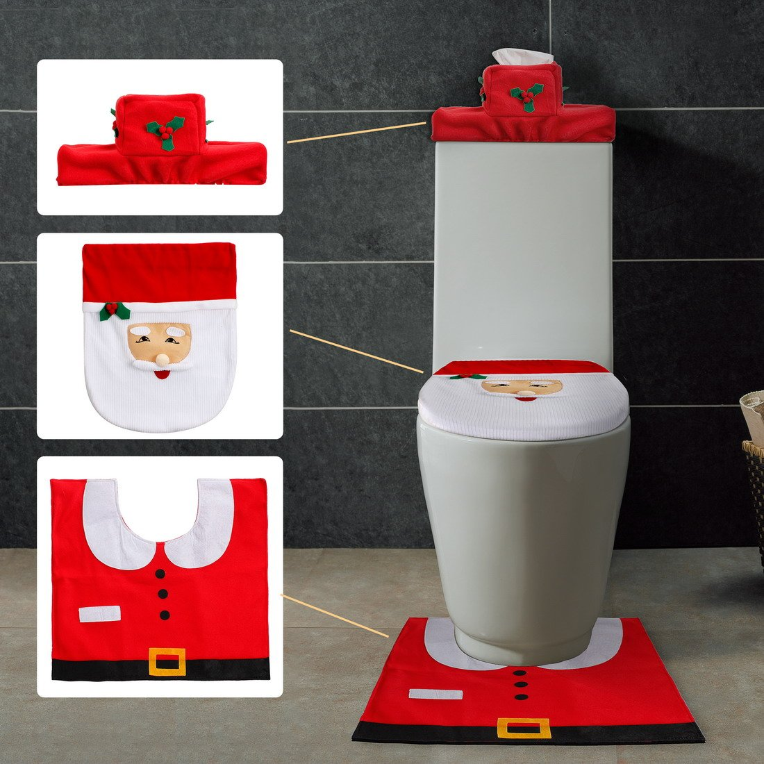 Menghao 3PCS/Set Christmas Snowman and Santa Clause Toilet Seat Cover - Tank Tissue Cover and Rug Set (red)