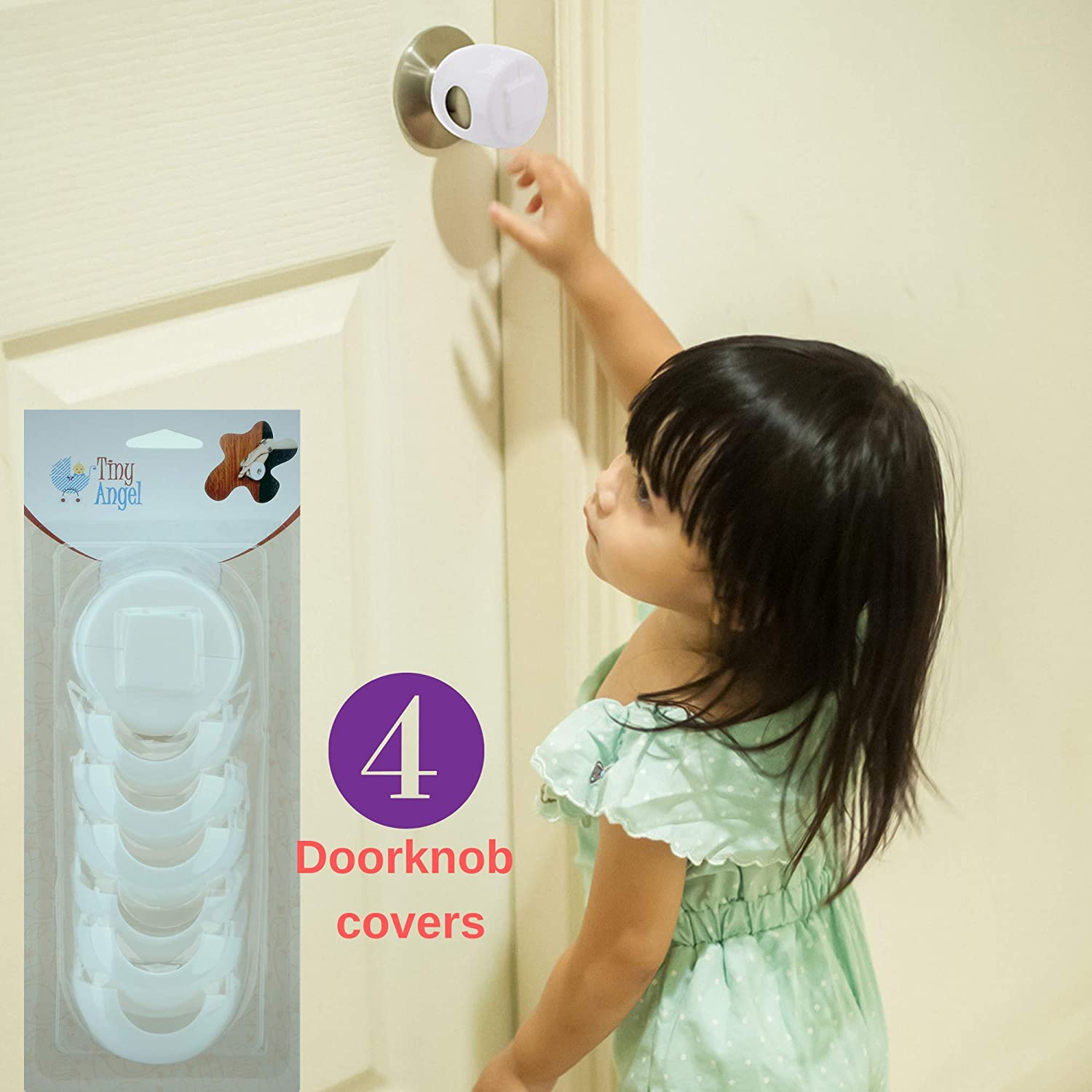 Tiny Angel's Door Knob Safety Cover. 4 Pack for Child Proofing Your House.