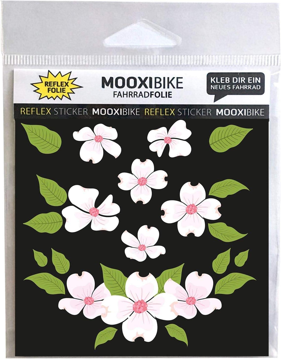 Mooxibike I Sticker Set Flower Power Reflektierender Aufkleber Für Helm Roller Fahrrad Zur Erhöhung Der Sicherheit Im Straßenverkehr Sport Freizeit