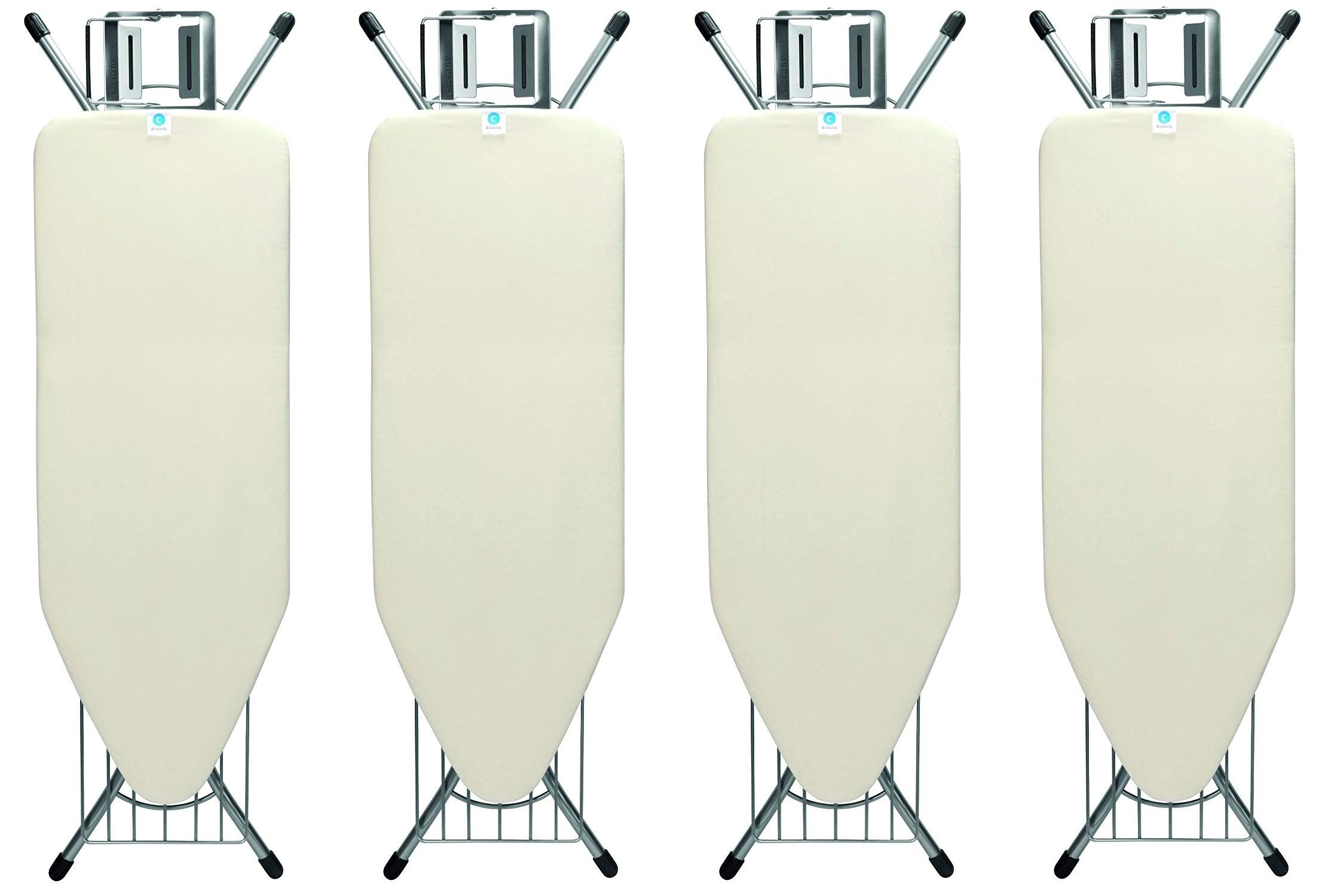 Brabantia Ironing Board with Steam Iron Rest and Linen Rack, Size C, Wide - Ecru Cover (Pack of 4)