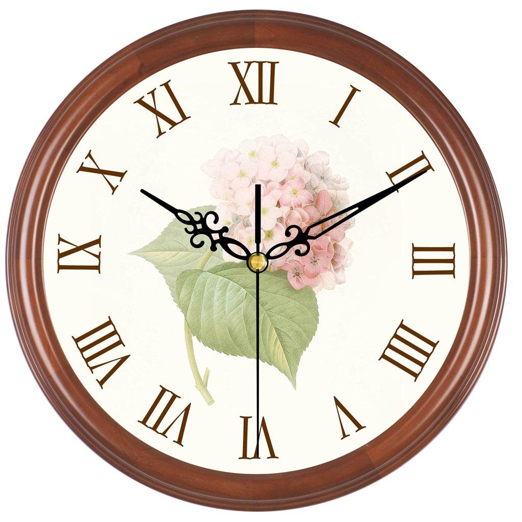 レトロリビングリビングルームベッドルームの壁時計サイレントスキャンクリエイティブな木製の庭の波の壁時計 LCS (色 : B color) B07FC7NDTH B color B color