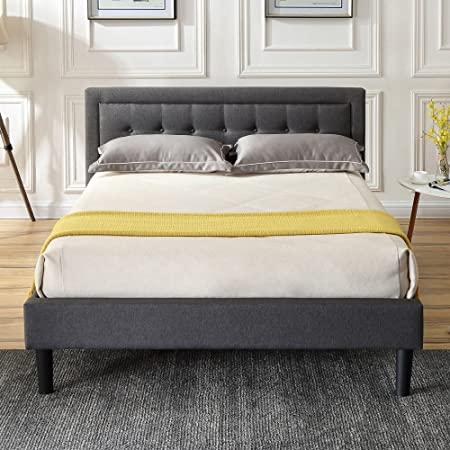 Classic Brands DeCoro Mornington Upholstered Platform Bed | Headboard and Metal Frame with Wood Slat Support | Grey, Queen