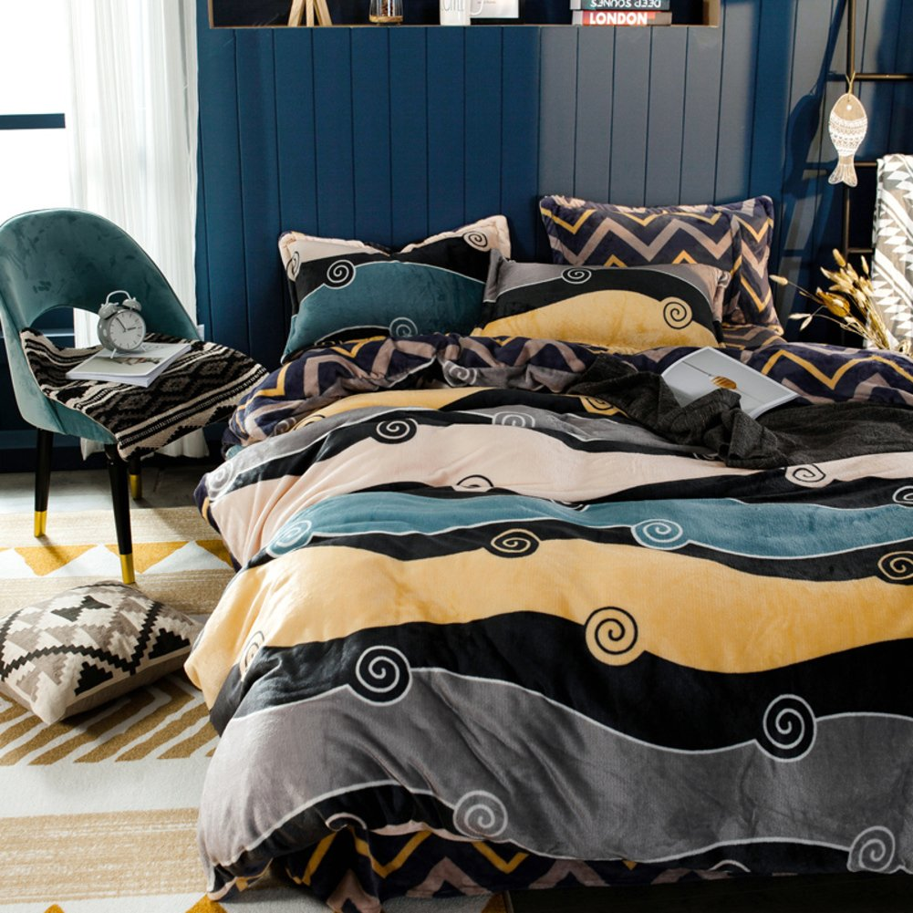 Double fleece thickening four-piece sleeve Winter bedding-D diameter180cm(71inch)