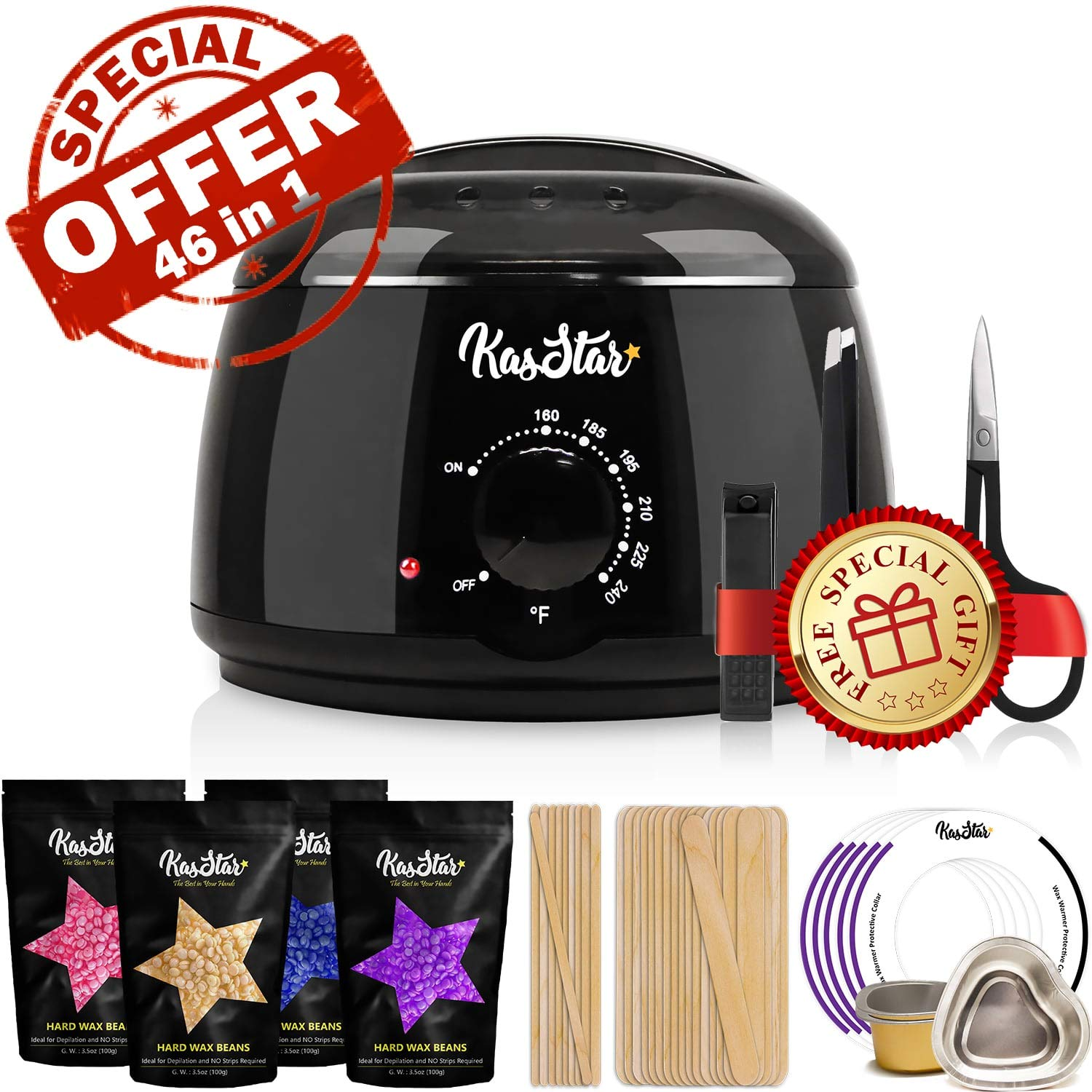 【46 in 1】 Wax Warmer - KasStar Waxing Kit Hair Removal for Rapid Waxing of All Body with 4 Scents Hard Wax Beans 30 Wax Applicator Spatula Sticks 5 Protective Collars 3 Small Bowls and SPECIAL GIFT