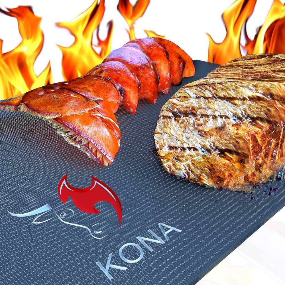 Kona XL Best Grill Mat - BBQ Grill Mat Covers The Entire Grill - Premium Non-Stick 25''x17''
