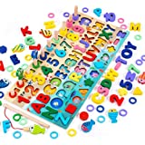 Wooden Number Alphabet Puzzle Sorting Montessori Toys for Toddlers Shape Counting Game for Age 3 4 5 Year olds Kids - Prescho
