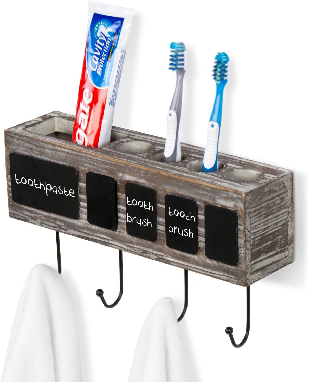 MyGift Rustic Torched Wood Wall Mounted Electric Toothbrush and Toothpaste Holder Organizer Rack with Chalkboards and 4 Towel Hooks