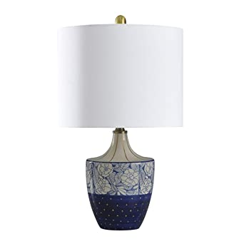 Shelly Cream Blue And Gold Table Lamp Geneva White Shade