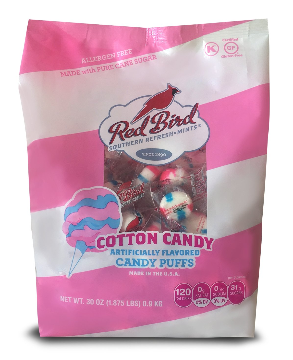 Red Bird Cotton Candy Puffs, 30 oz bag   Made w/100% Pure Cane Sugar   Melt-in-Your-Mouth Candy   Allergen-Free, Gluten-Free, Kosher and Individually Wrapped