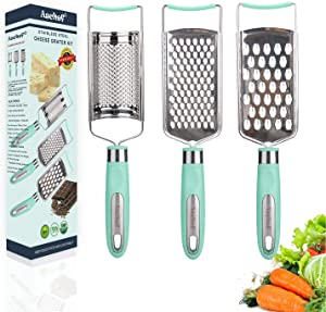3in1 Stainless Steel Cheese Grater Handheld Zester Grinder Multi-Purpose Kitchen Food Graters for Lemon Chocolate Butter Garlic Ginger Fruit &Vegetable