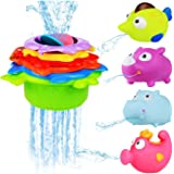 Stacking Cups and Squirting Bath Toys Rubber Animals BPA Free, Indoor Outdoor Beach Fun Bathtub Fun Toy for Water Play