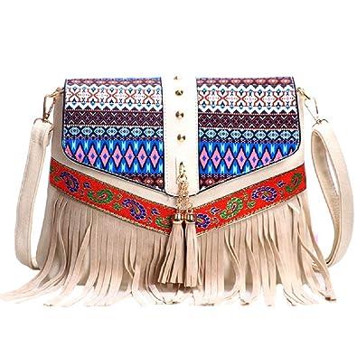 54b4d47b5c48 Flyfish New Ladies Women Girls Casual Fashion PU Leather Trendy Cute Handbag  Rivets Fringe Tassels Purse