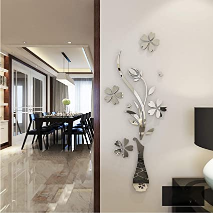 Amazon.com: YINASI 3D Mirror Wall Stickers, Acrylic Luxury Vase Plum ...