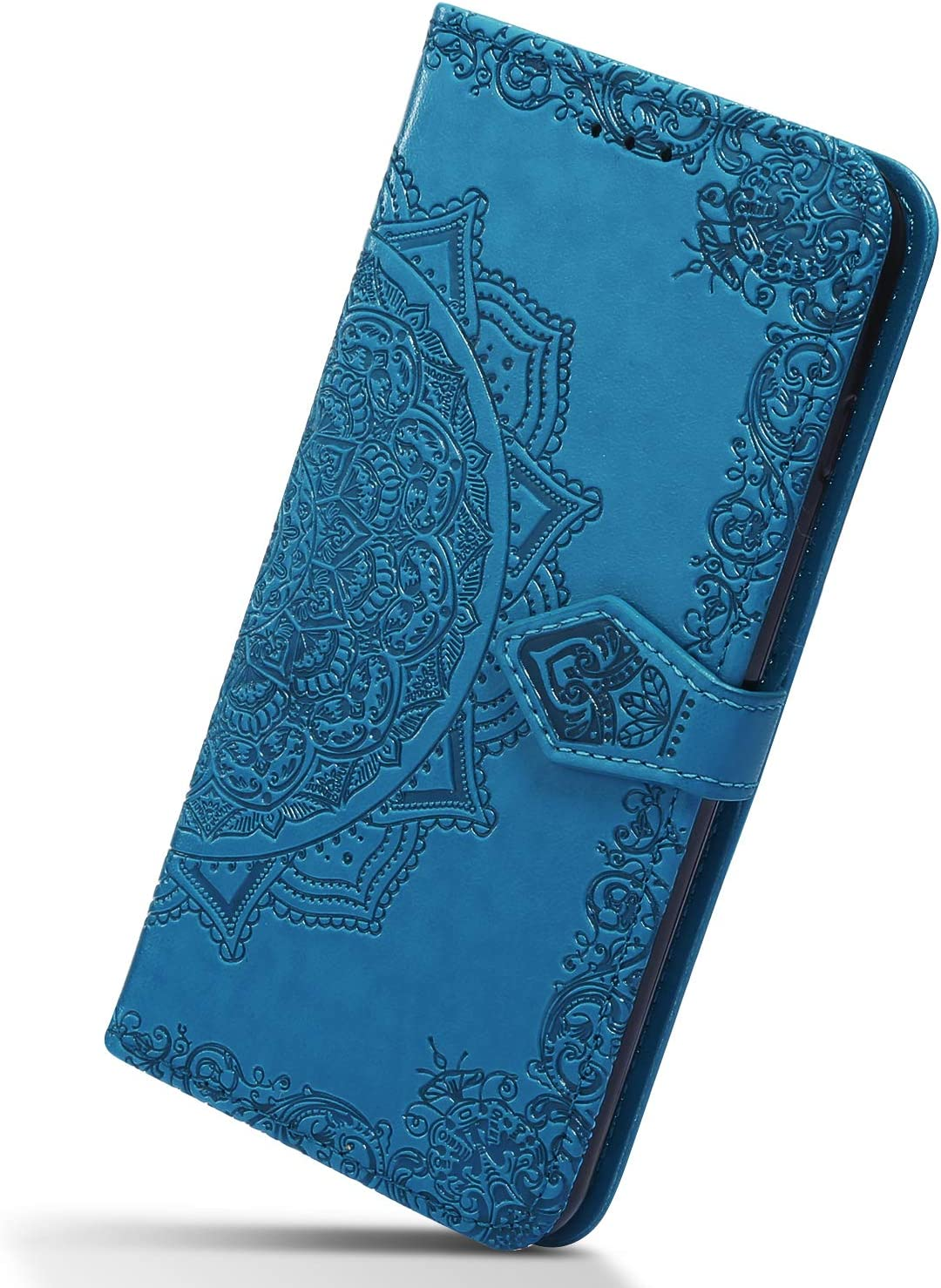 Herbests Compatible with Samsung Galaxy S10 Wallet Flip Case 3D Embossed Mandala Flower Leather Wallet Case Shockproof Slim Protective Phone Cover with Kickstand Card Holders,Blue