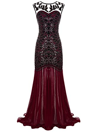 a7f7998a FAIRY COUPLE Women's Maxi Long 1920s Gatsby Dresses Sequined Embellished  Prom Evening Dress S Burgundy