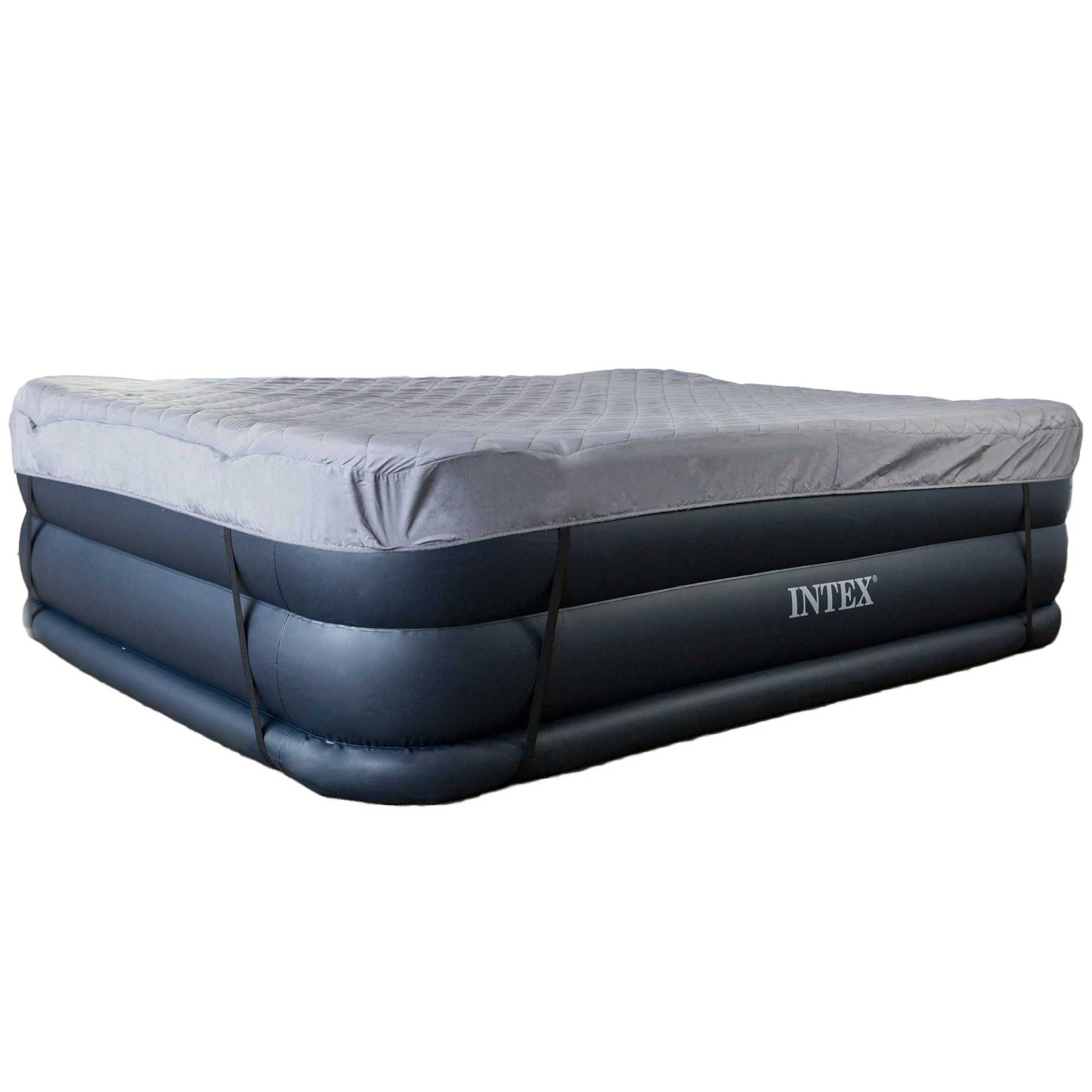 Intex Queen Raised Air Mattress Bed with Built-In Electric Pump + Quilted Cover