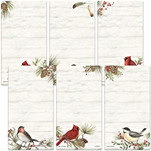 Cardinal Woodland Birds Magnetic Notepad Set – Set of 12 (6 Designs), 30-Sheet Pads, 2½ x 8 Inches, Memo Pad, Shopping List, To-Do Notes, Printed in the USA, by Current
