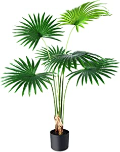 CROSOFMI Artificial Desert Fan Palm Tree 4 Feet Fake California Palm Plant,Perfect Faux Fan Palm Plants in Pot for Indoor Outdoor House Home Office Garden Modern Decoration Housewarming Gift