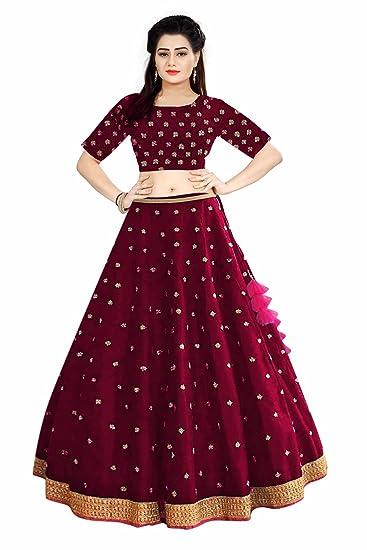 de2617e311 Fabcartz Women's Embroidered Semi-Stitched Lehenga Choli (RK565, Maroon,  Free Size): Amazon.in: Clothing & Accessories
