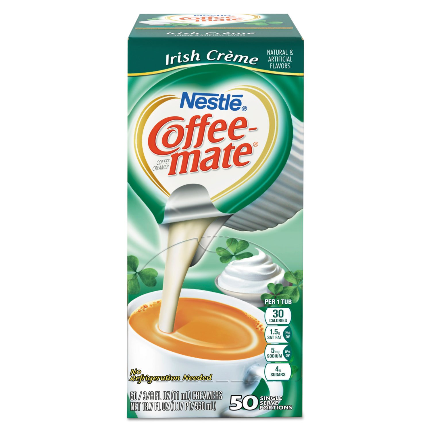 Coffee-mate 35112CT Liquid Coffee Creamer, Irish Creme, 0.375 oz Mini Cups, 50/Box, 4 Box/Carton