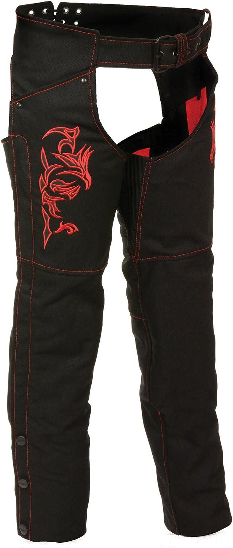 Milwaukee Performance Womens Doulon P1300 Nylon Twill Chaps Black//Red, Medium