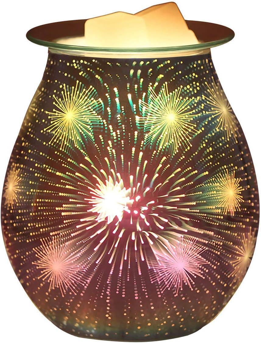 Singeek 3D Glass Electric Wax Melt Warmer Fragrance Wax Tart Burner for Home Office Bedroom Living Room Gifts & Decor(Colorful Fireworks)