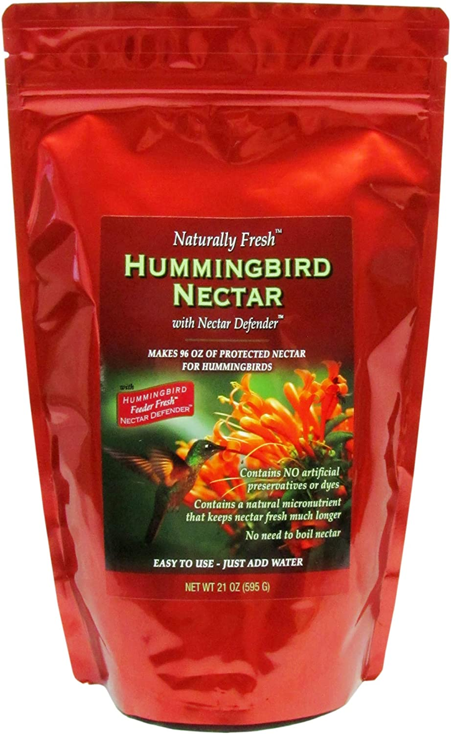 Naturally Fresh Hummingbird Nectar with Nectar Defender, Makes 96 ounces of Clear Hummingbird Nectar, Lasts Longer in Hummingbird Feeders