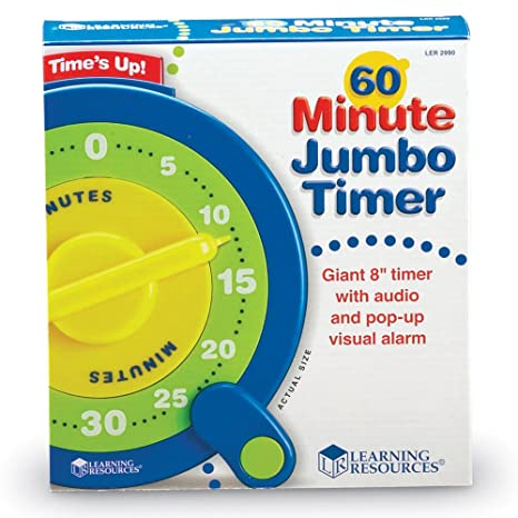 amazon com learning resources 60 minute jumbo timer no battery