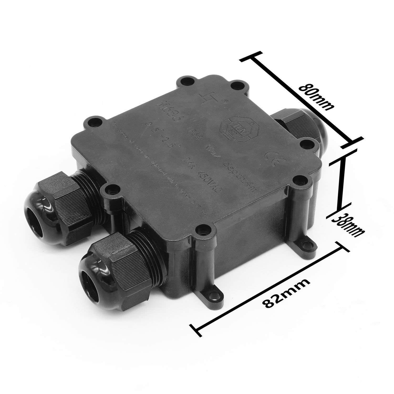 115 * 95 * 50 Noir PUAK523/Bo/îte de d/érivation Externe//ext/érieur Bo/îte de jonction /électrique 3/Voies /étanche Connecteurs de c/âble Coupler Box