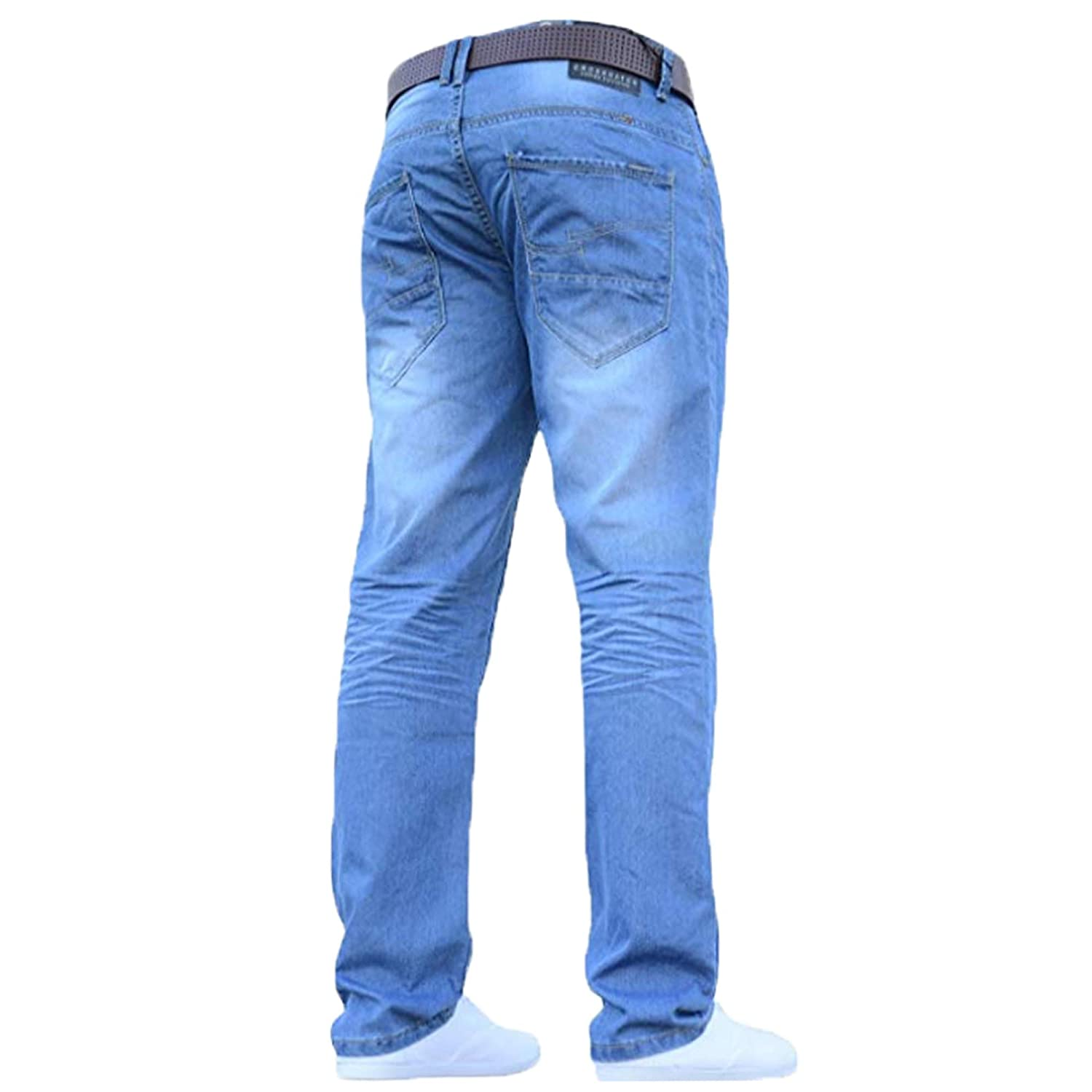 Crosshatch Uomo Classico Gamba Dritta Regular Fit Elegante Denim Jeans all girovita con Cintura