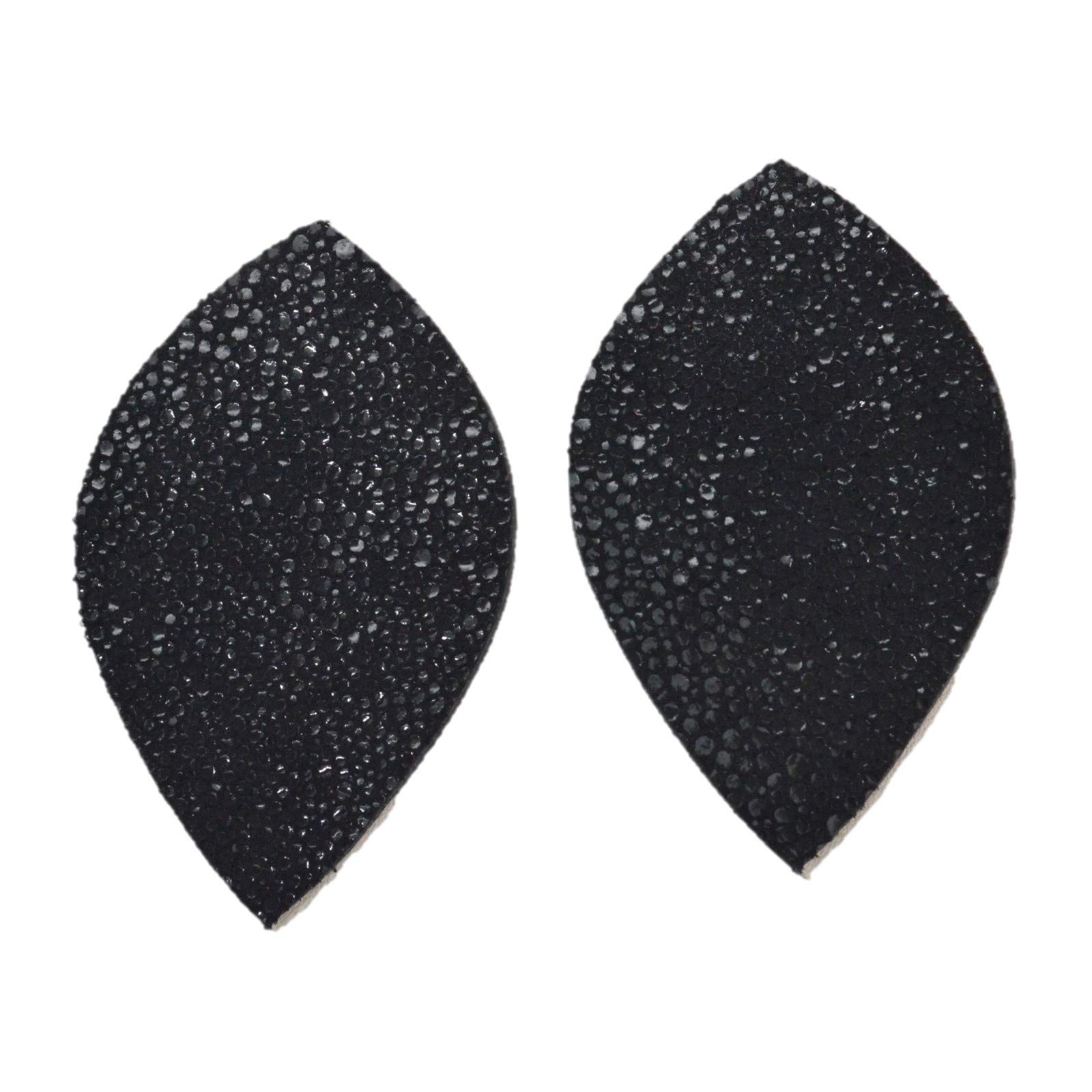 "Leather Earrings Teardrop Large Die Cut 12pk /""Fashionista/"" Black Stingray DIY"