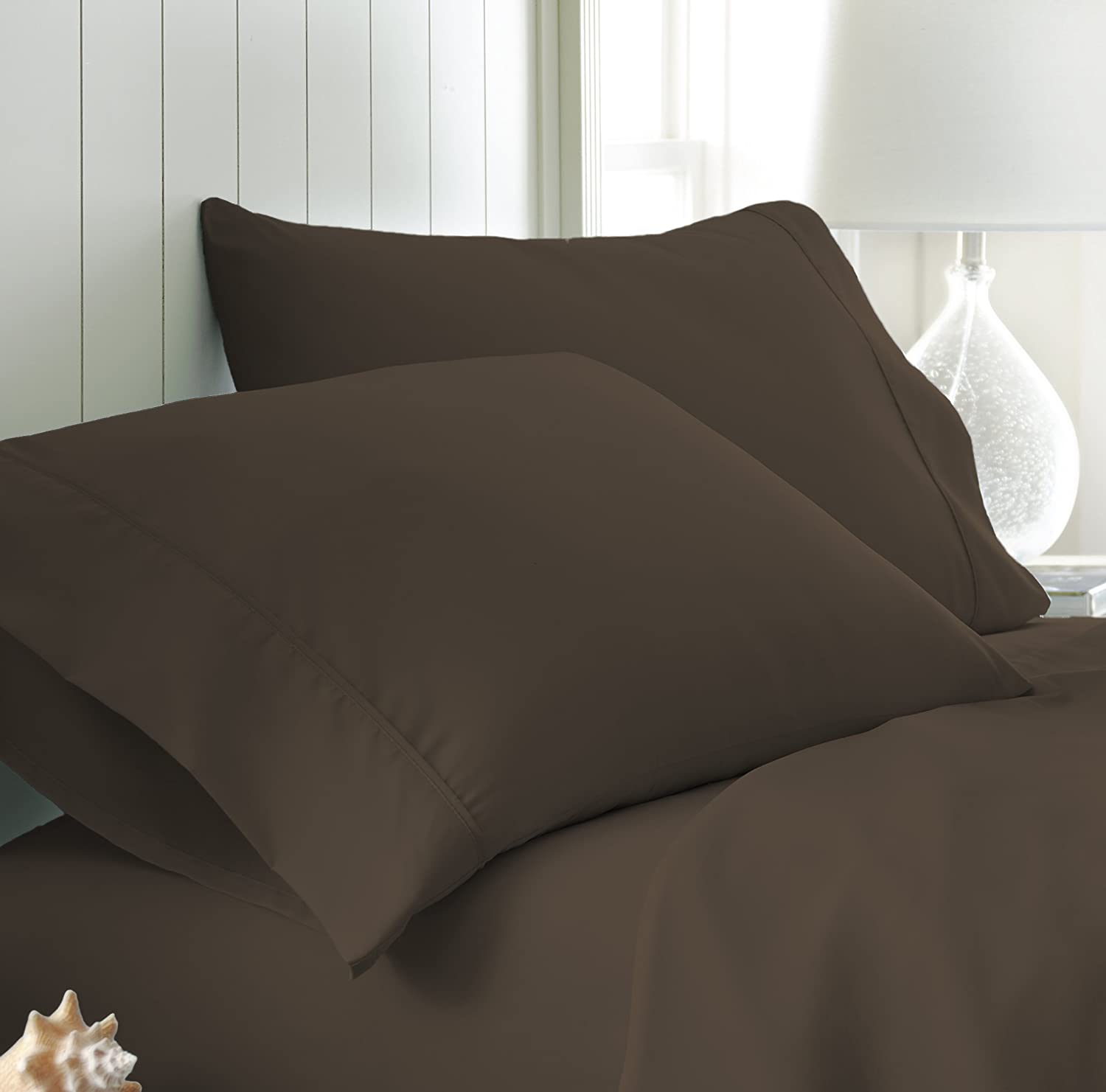 Standard Chocolate ienjoy Home 2 Piece Home Collection Premium Luxury Double Brushed Pillow Case Set