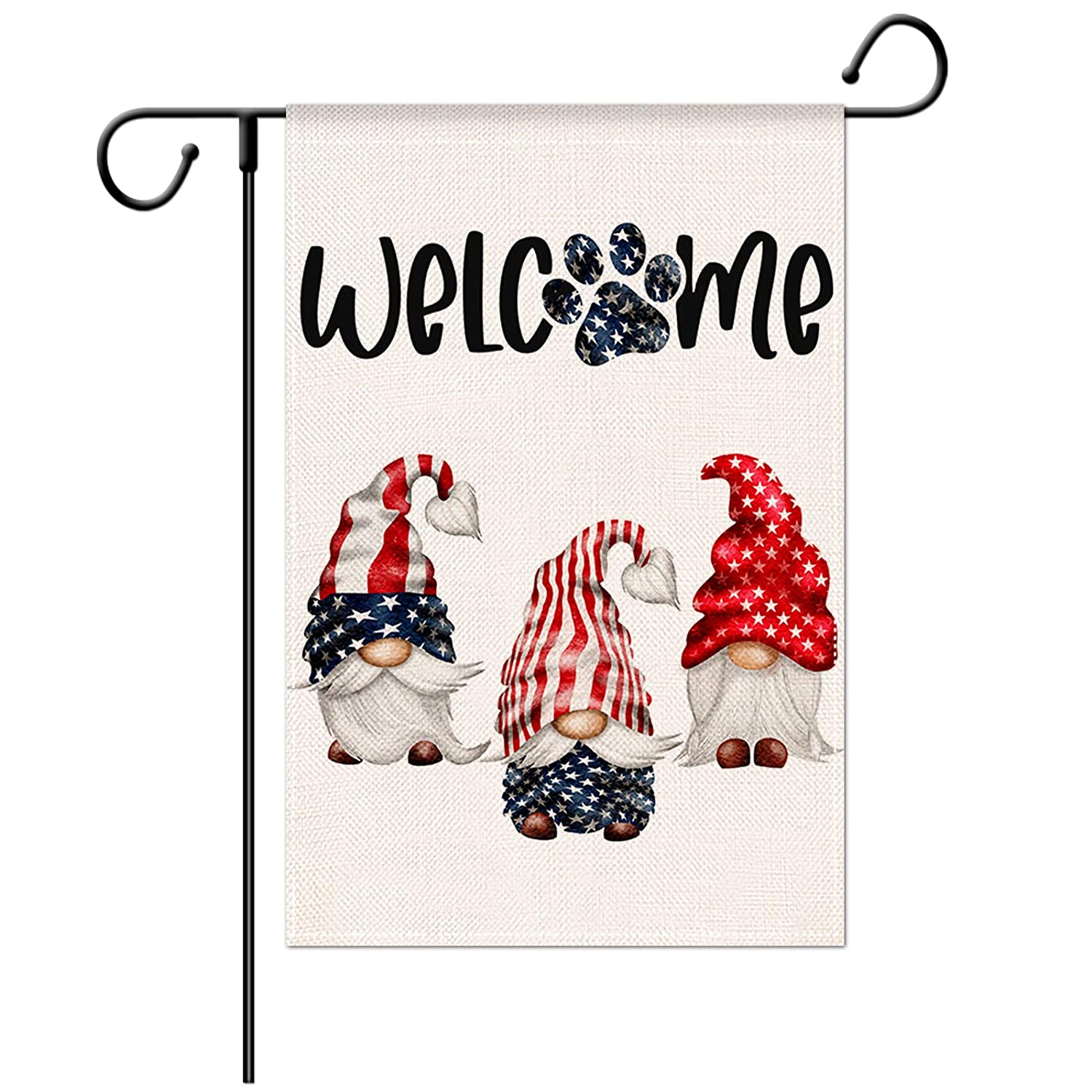 Jartinle Welcome Gnomes Garden Flag Double Sided, 4th of July Decorative Patriotic American Flag Paw Print for Outside Yard Outdoor Memorial Day Decoration 12.5x18