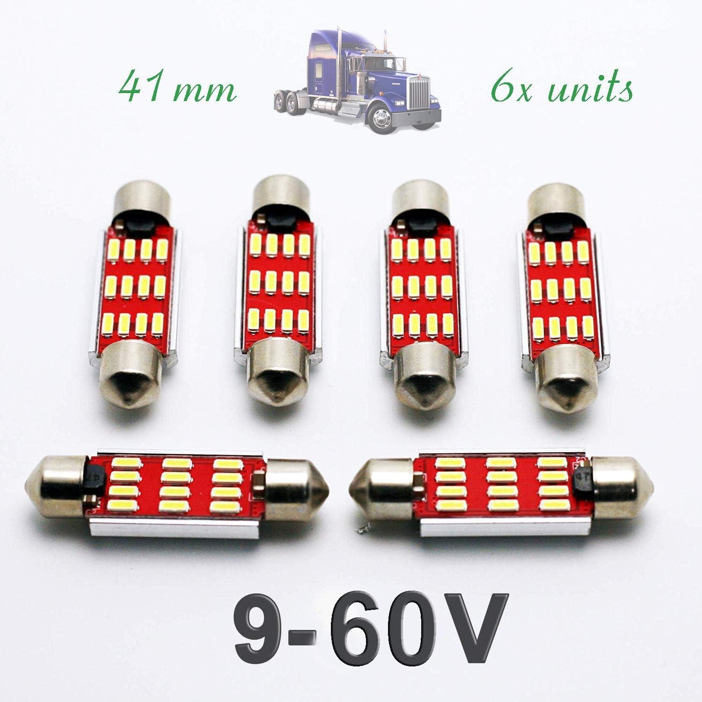 G-V 6X Bombillas Camiones C5W 24V 41MM White 6000K LED Lamp Lorry Truck 41 42 Festoon SV8.5