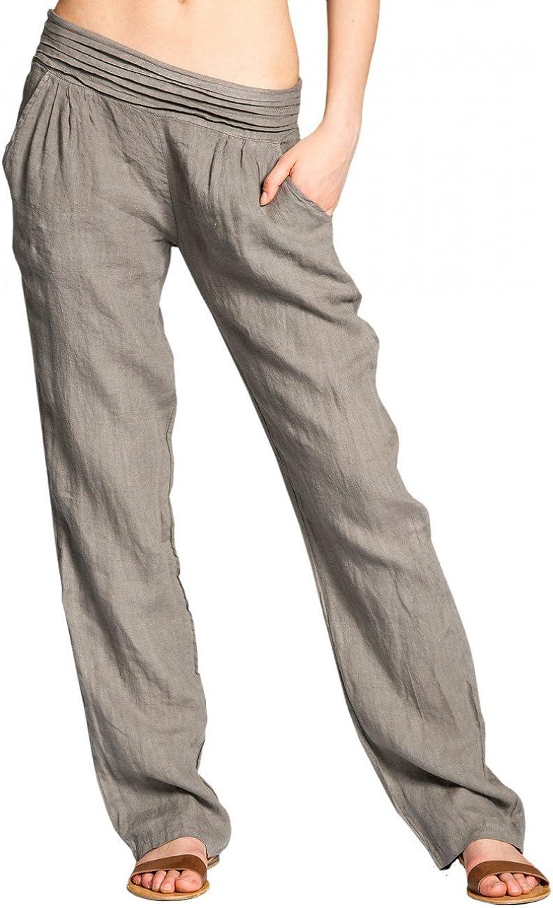 Caspar KHS020 Pantalones Largos de Verano para Mujer Hecho de Lino