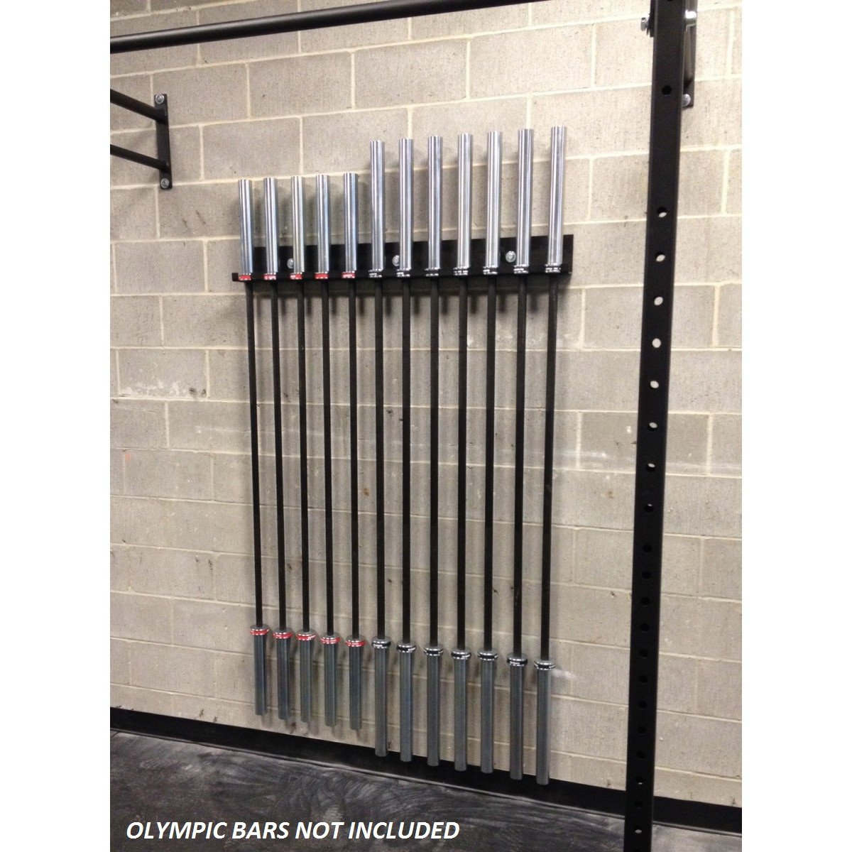 USA-MADE Wall Mounted Olympic Bar Holder - 12 Bar Wall Mount Vertical Barbell Storage Rack - Weight Bar Wall Rack
