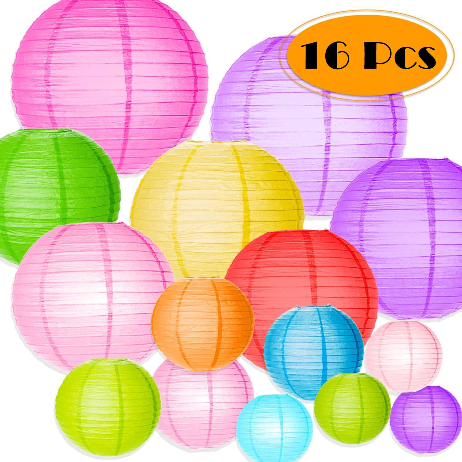 Bulaby 16 Packs Colorful Round Paper Lanterns Chinese Lantern Balloon Hanging Decorations with Assorted Sizes for Wedding Party Decorations