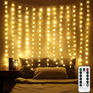 LED Window Curtain Lights, Photo Backdrop Lights Twinkle String Lights with Remote Control for Wedding Party Bedroom Wall Christmas Decorations (Warm White, 6.5 x 5 ft)