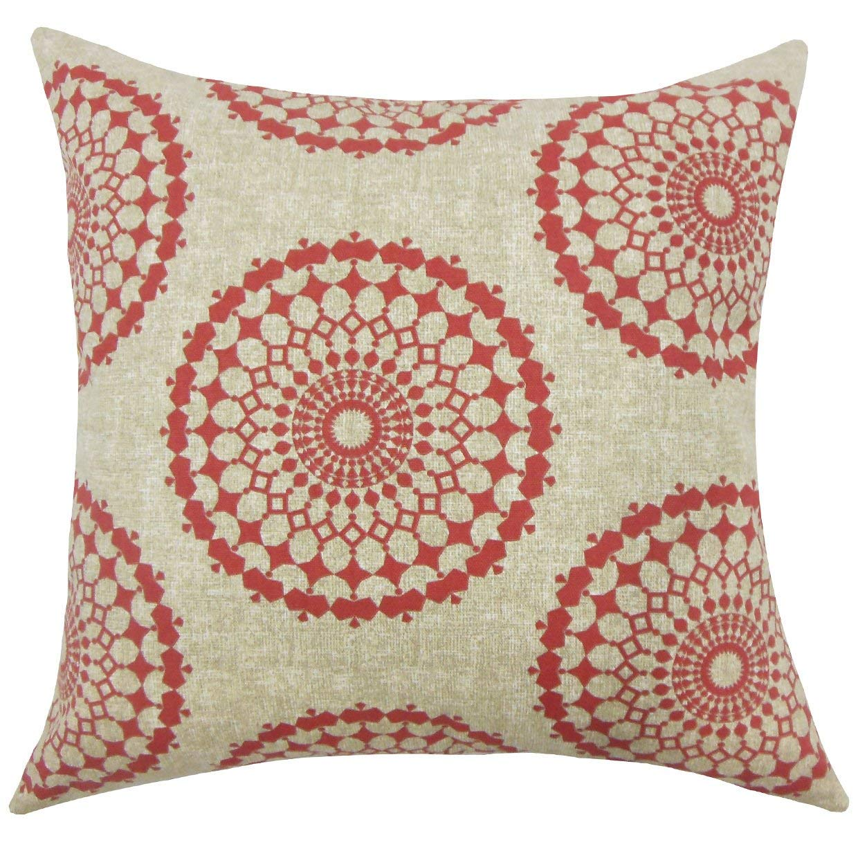 The Pillow Collection Elyes Geometric Pomegranate Down Filled Throw Pillow