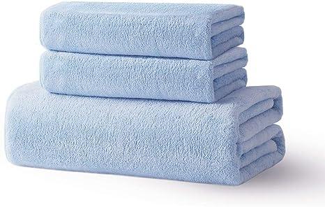 Amazon Com Xinrjojo 3 Piece Microfiber Quick Dry Towels Set 1 Bath Towel 2 Hand Towels Set Super Soft Plush Highly Absorbent Blue Home Kitchen