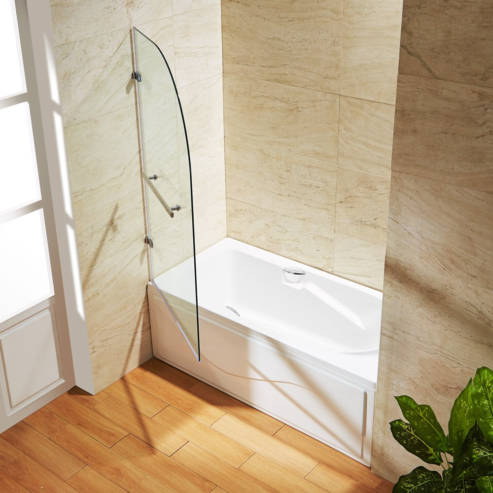 Lesscare clear glass shower door ultra b 44 48 wide x 76 high chrome - Curved Bathtub Door With 3125 In Clear Glass And Chrome Hardware Home Improvement