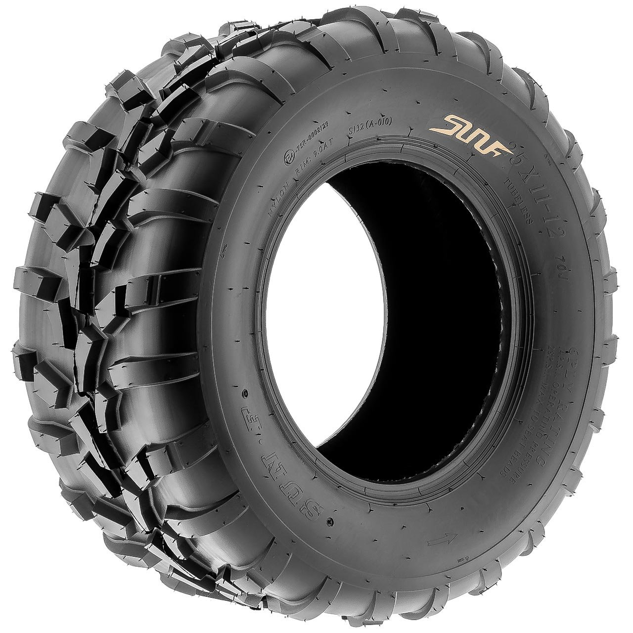 Pair of 2 SunF 25x11-12 AT-XC ATV/UTV Off-Road Tires , 6PR , Directional Knobby Tread | A010 by SunF (Image #9)