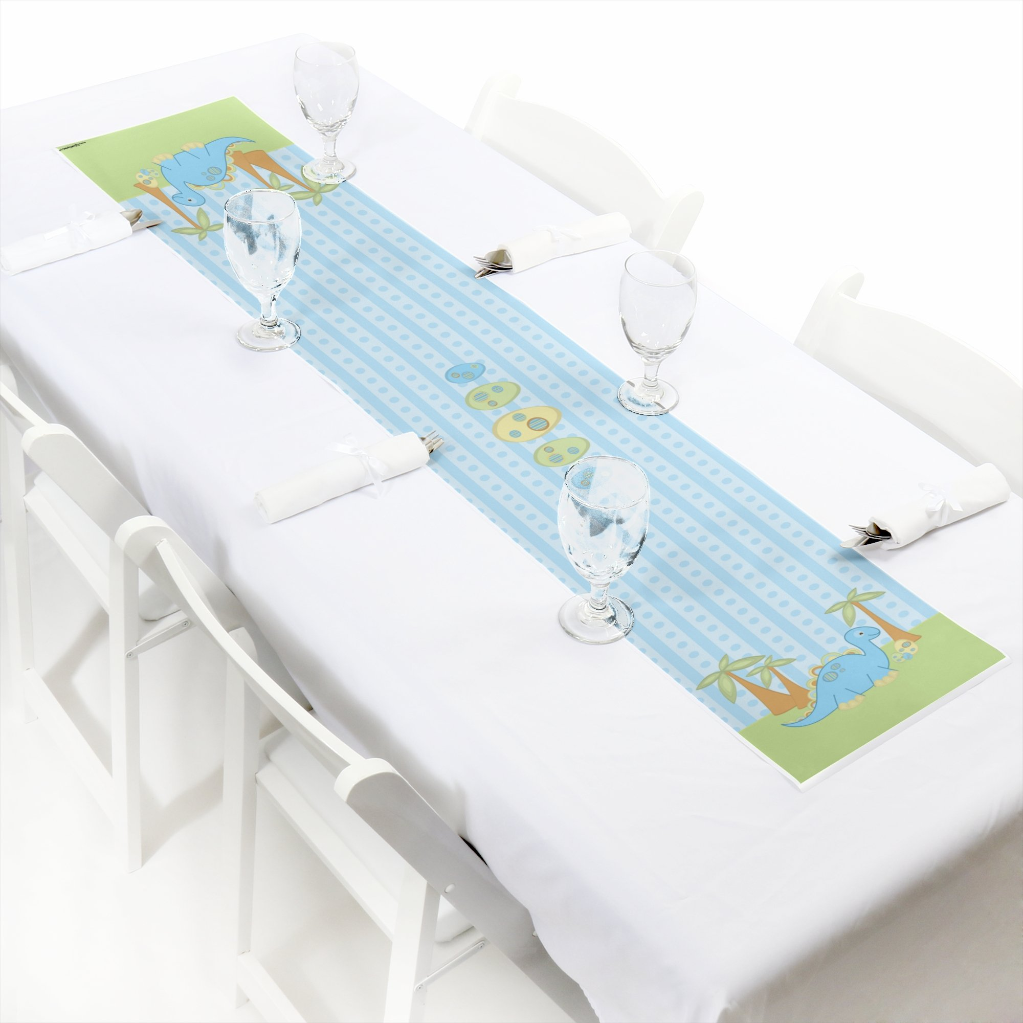 Baby Boy Dinosaur - Petite Baby Shower Paper Table Runner - 12'' x 60''