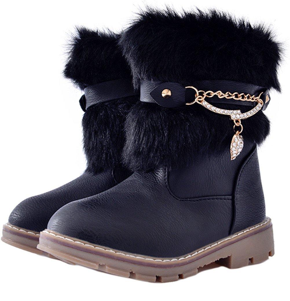 DADAWEN Girls Toddler/Little Kid/Big Kid Rhinestone Side Zipper Faux Fur Lined Mid Calf Winter Snow Boots Black US Size 1.5 M Little Kid