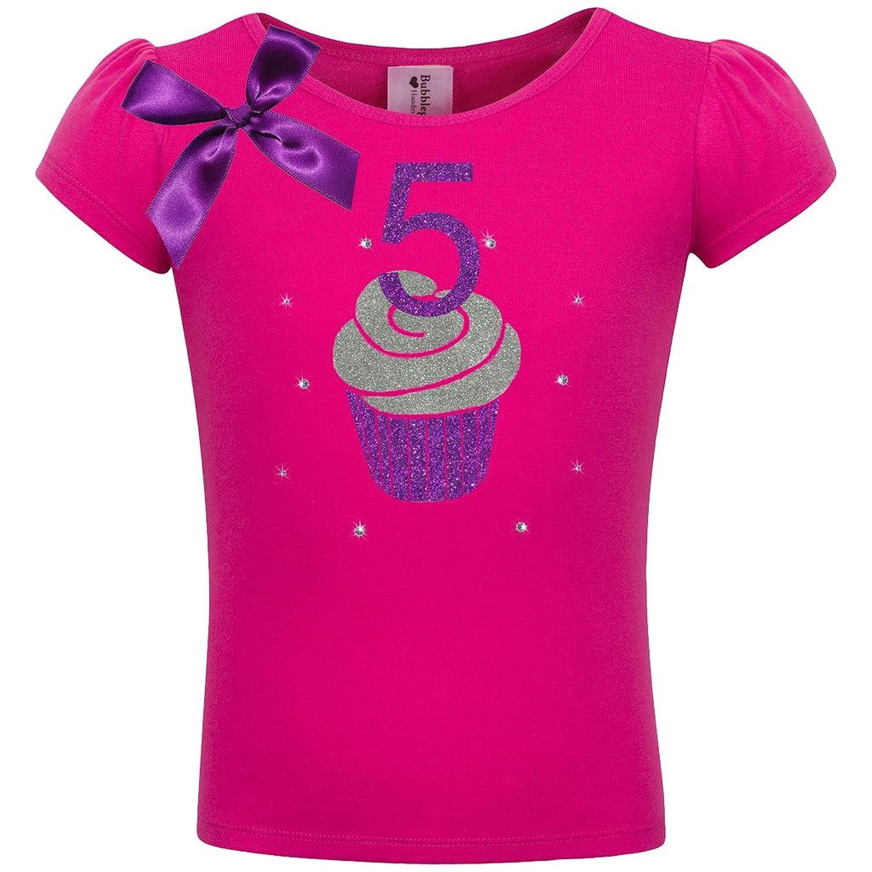 Bubblegum Divas Little Girls 5th Birthday Pink Purple Cupcake Shirt