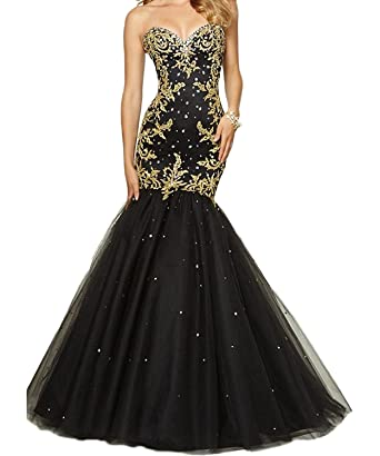 Butalways Womens Long Mermaid Prom Dresses With Gold Appliques Sweetheart Formal Gown Cheap Black 2