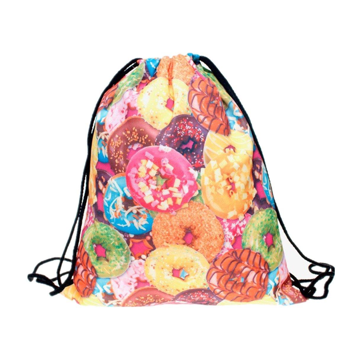 オープニング 大放出セール ファッション巾着バッグZerowin B07226M474 DoughnutsプリントバックパックショッピングバッグFloding水泳バッグホーム旅行ストレージ使用 B07226M474, チロルwebshop:03a60672 --- domaska.lt