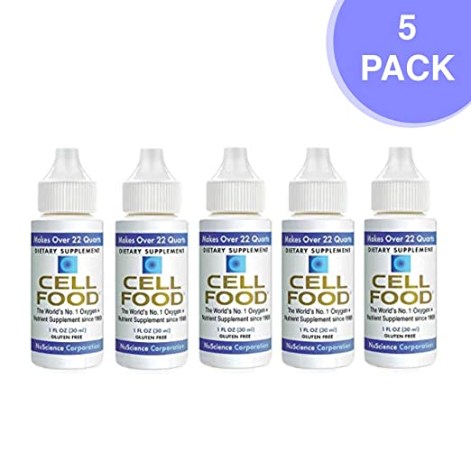 Cellfood Liquid Concentrate, 1 oz. Bottle (Pack of 5) - Original Oxygenating Formula Containing Seaweed Sourced Minerals, Enzymes, Amino Acids, Electrolytes, Superior Absorption- Gluten Free, GMO Free