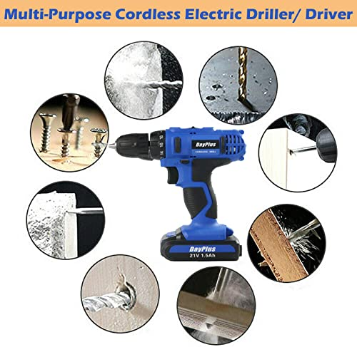 21V Electric Cordless Drill Driver Kit 18 1 Torque Setting 2-Speed Transition 45Nm MAX Torque Built-in LED Light 1500mAh Rechargeable Li-Ion Battery 29Pcs Bits Sets All-in-One for Screws Drilling