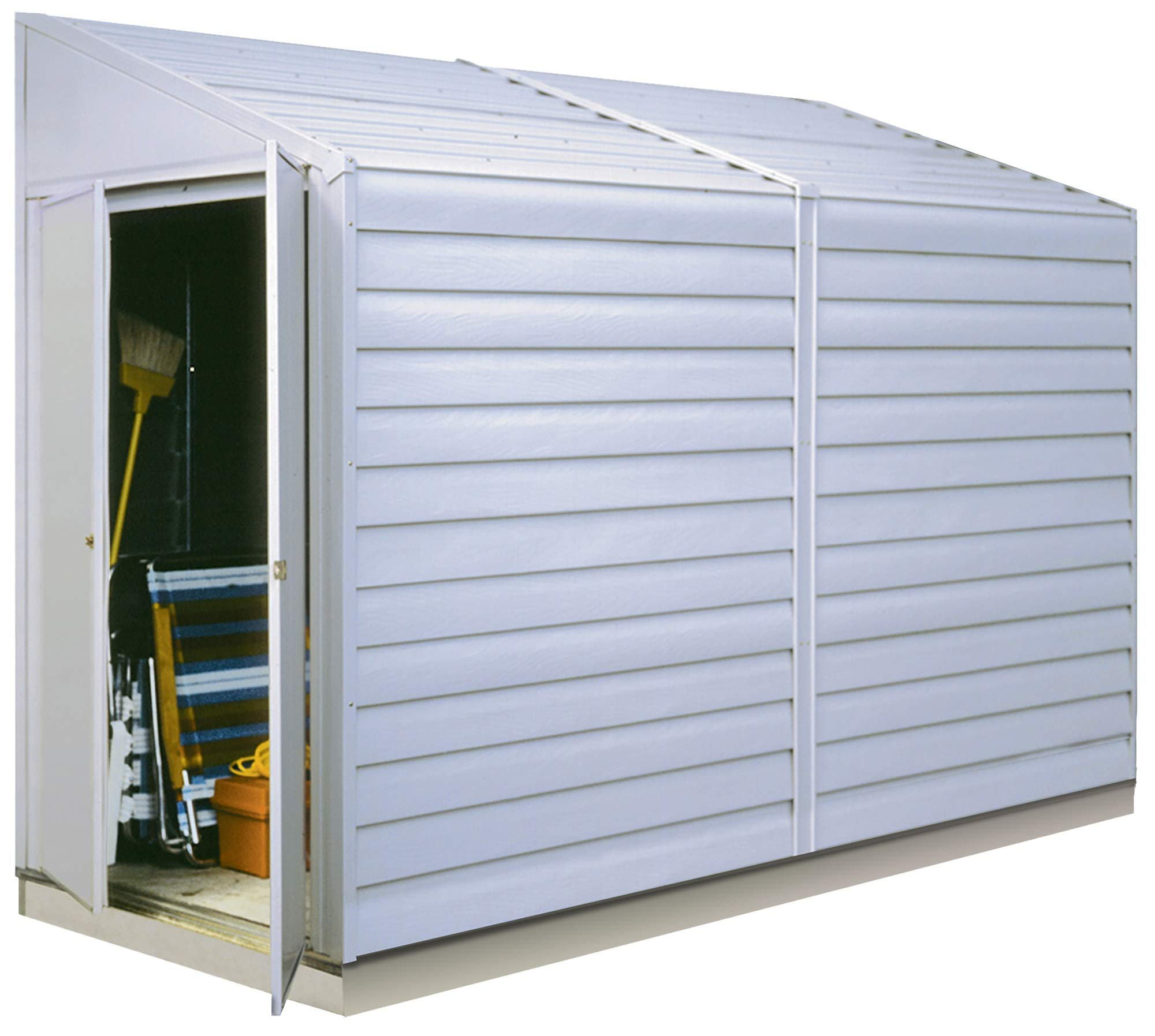 Arrow Yardsaver Compact Galvanized Steel Storage Shed with Pent Roof, 4' x 10' by Arrow